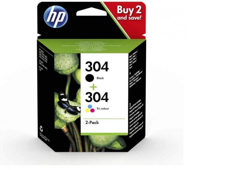 ORIGINAL HP 304 Multipack Original Druckerpatronen (Schwarz, Farbe) für HP DeskJet , 2er Packung HP DeskJet 2630, 3720,  3720, 3720, 3730, 3735, 3750, 3760, ENVY 5020, 5030, 5032