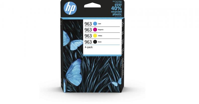 Original HP 963 Multipack (Blau/Rot/Gelb/Schwarz) Druckerpatronen für HP OfficeJet Pro 9010, 9012, 9015, 9016, 9019, 9020, 9022, 9025