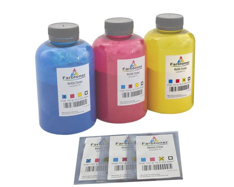 Farbtoner-Refill-Set-3 mit Chips komp. für Magicolor 5440, 5450