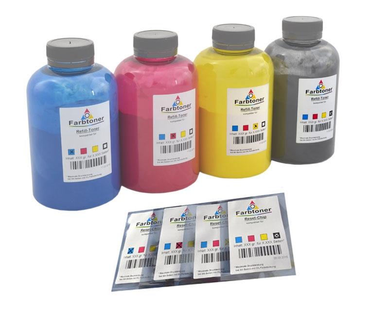 Farbtoner-Refill-Set-4 mit Chips komp. für Magicolor 5440, 5450