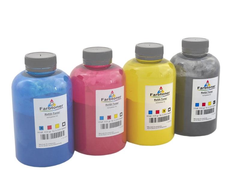Farbtoner-Refill-Set-4 komp. für OKI C5100, C5200, C5300, C5400, C5540