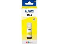 Original Tintenflasche für Epson 104 EcoTank (ET-2710 ET-2711 ET-2720 ET-2726 ET-4700 ET-2712 ET-2721) gelb